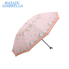 2018 New Princess Rain Umbrella Woman Kids Lady Pink Nice Flower Printing Small Sunshade Umbrella Anti-UV Parasol