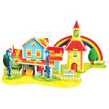 Quebra-cabeça do arco-íris 3D casa