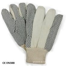 Nähte PVC-gepunktetes Segeltuch-Baumwollarbeitshandschuh