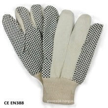 Sewed PVC Dotted Canvas Cotton Working Glove