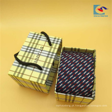 Personalizado de luxo gaveta portátil deslizante caixas de embalagem de presente de empate com alça
