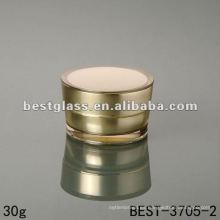 Frasco acrílico de 30 g con tapón de rosca, color dorado, redondo, 15/30/50 g, doble pared, personalización del color