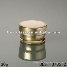 30g acrylic jar with screw cap, gold color, round shaped, 15/30/50g, double wall, do the customizing of the color