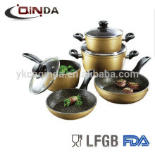 8pcs forged marble coating cookware set