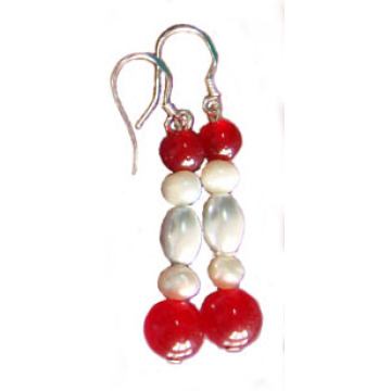 Pearl Colour Hematite Earring With 925 Silver Hook