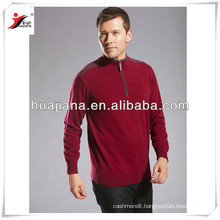 modern mock neck with 1/4 zip men cashmere sweater