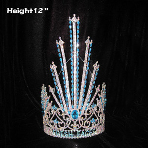 12in Large Tall Blue Diamonds Pageant Queen Crowns