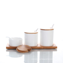 Ceramic Spice Canister Set with Bamboo Stand