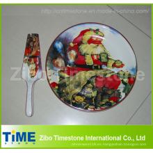 Plato de pastel de cerámica con servidor de diseño navideño (32016)