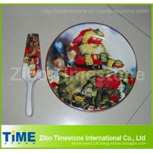 Ceramic Cake Plate with Server of Christmas Design (32016)