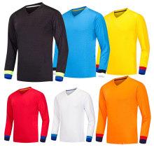 sublimación barato personalizado españa uniformes de fútbol de manga larga / camiseta de fútbol / camisa de fútbol guardametas al por mayor