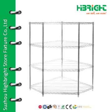Cheap corner shelf store chrome display shelf