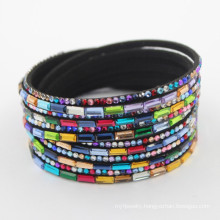 40*1.8cm Rainbow Black Leather Snap Bracelet Crystal Jewelry