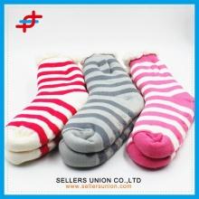 Custom Winter Cotton Velvet Knitted Soft Indoor Home Slipper Sock