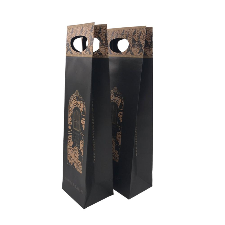 Custom Print Black Wine Bottle Paper Bag
