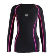 Camisa con cuello en V para mujer color negro (SRC234)