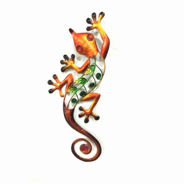 Deluxe Jewelled Gecko Metal Wall Decoration for Home and Garden