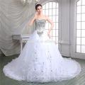 Luxury sweet heart neckline lace royal dress deep v neck white color laced dress wedding 2016
