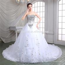 Vestido de encaje de lujo dulce corazón escote profundo v profundo cuello blanco vestido con cordones boda 2016