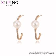 94941 neue Mode 18 Karat Gold Farbe Perle Hoop Ohrring edlen stilvollen Schmuck für Damen