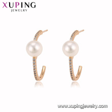 94941 New fashion 18K gold color pearl hoop earring noble stylish jewelry for ladies