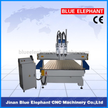 Multi function three heads cnc router for sale, wood cnc router for door making