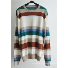 100% algodão listrado sweater pullover para homens