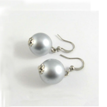 Ladies Fashion Grey Pearl Earrings