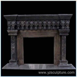 Antique Vintage Black Marble Fireplace Mantel