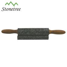 Nouveau rouleau à pâtisserie noir en pierre de marbre avec base en bois