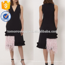 Новая мода черный рукавов V-образным вырезом платье с абстрактным бахромой Хем Производство Оптовая продажа женской одежды (TA5240D)