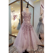 LS0033 O-neck V-back natural waist bead appliques suzhou organza the most beautiful flower girl dress