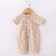 Organic Cotton Check Short Sleeves Baby Clothes