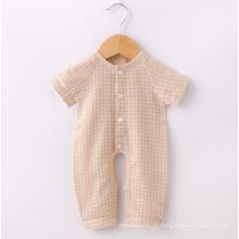 Algodão orgânico verificar mangas curtas bebê roupas