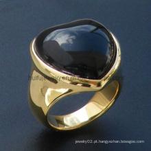 Corte de pedra e ouro polonês DIP forma coração anel de aço