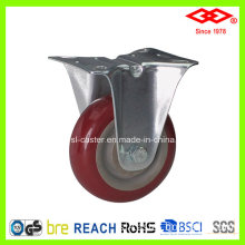Fixed Plate Red PU Caster (D103-36F080X30)