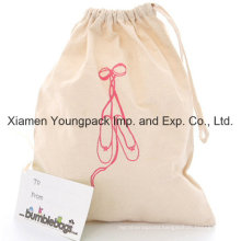 Promotional Custom 100% Natural Cotton Cloth Draw-String Shoe Dust Bag