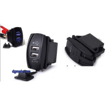 Interruptor de interruptor oscilante iluminado LED encendido-apagado con conector USB dual