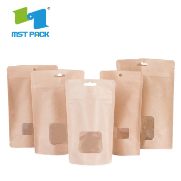 Brown Craft Paper Coffee Packaging Bag Jagung Biodegradable