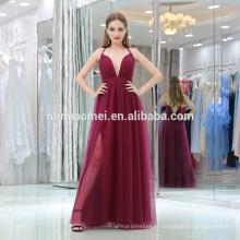 Élégant rouge foncé v profond cou spaghetti sangle dames sexy porter des robes de soirée avec haute slipt