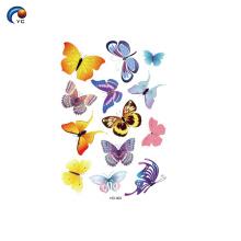 Autocollant temporaire de papillon pour dame au corps de décoration