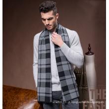 Homens moda inverno lã poliéster acrílico de malha lenço de malha (yky4601)