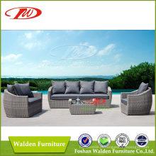 Sofá de jardim popular Mobília de vime de enrolado ao ar livre