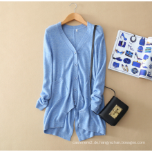 Damen-Pullover aus reinem Kaschmirpullover Unregelmäßiges unteres Pendel mit V-Ausschnitt lange Ärmeltasche 100% reine Kaschmir-Strickjacke
