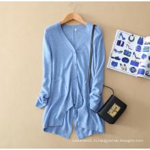 Дамы чистый кашемир свитер кардиган нерегулярные нижней части маятника V-образным вырезом с длинным рукавом карман 100% чистый кашемир кардиган