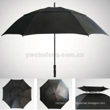 100% complet fibre LOGO personnalisé en gros réel double couches coupe-vent golf parapluie