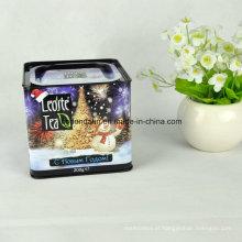Caixa de lata de chá de metal quadrada feita sob medida com tampa hermética