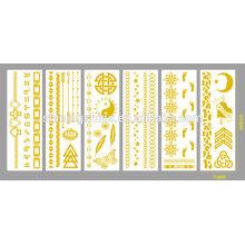 2016 neue Art und Weise temporäre Wasserübertragung Drucken glänzende Goldmetalltätowierungaufkleberpaste für Körper