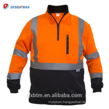 Wholesale Safety Sweatshirt Orange Hi Vis Reflective Jacket Sweater Zipper ANSI Class 3 High Visibility Pullover for Night Work