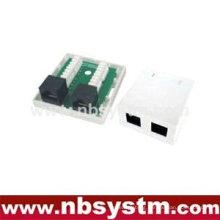 2 ports Surface Box UTP Cat6 2xRJ45 PCB jack